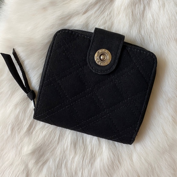 Vera Bradley Black Quilted Folding Mini Zip Wallet